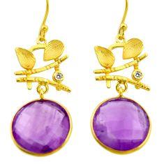 16.73cts natural purple amethyst 925 silver 14k gold dangle earrings r31701