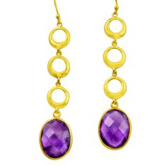 17.91cts natural purple amethyst 925 silver 14k gold dangle earrings r31746