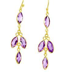 8.87cts natural purple amethyst 925 silver 14k gold dangle earrings r33183