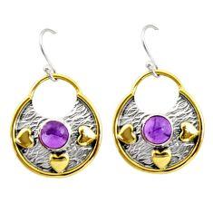 2.26cts natural purple amethyst 925 silver 14k gold dangle earrings r37210
