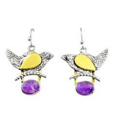 4.02cts natural purple amethyst 925 silver 14k gold dangle earrings r37253