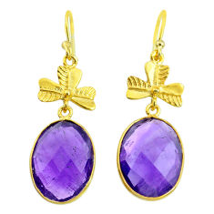 16.74cts natural purple amethyst 14k gold handmade dangle earrings t11423