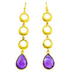 10.03cts natural purple amethyst 14k gold handmade dangle earrings t11489
