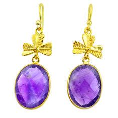 16.71cts natural purple amethyst 14k gold handmade dangle earrings t11501