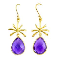 13.57cts natural purple amethyst handmade14k gold dangle earrings t16663