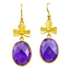 13.70cts natural purple amethyst 925 silver 14k gold dangle earrings t44088