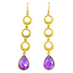 10.69cts natural purple amethyst 925 silver 14k gold dangle earrings t44106