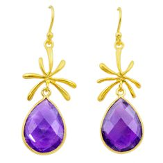 12.22cts natural purple amethyst 925 silver 14k gold dangle earrings t44108