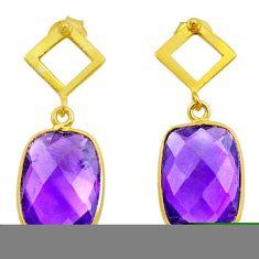10.15cts natural purple amethyst 925 silver 14k gold dangle earrings t44209
