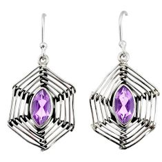 5.11cts natural purple amethyst 925 silver dangle spider web earrings r67864