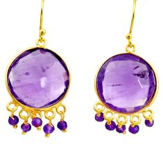 19.76cts natural purple amethyst 925 sterling silver 14k gold earrings r31543