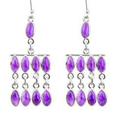 18.17cts natural purple amethyst 925 sterling silver chandelier earrings d39856