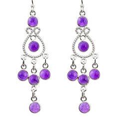 10.81cts natural purple amethyst 925 sterling silver chandelier earrings r33591