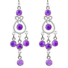 10.81cts natural purple amethyst 925 sterling silver chandelier earrings r33592