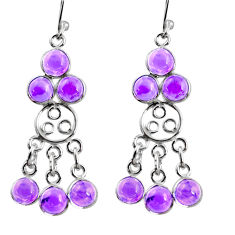 10.28cts natural purple amethyst 925 sterling silver chandelier earrings r37405