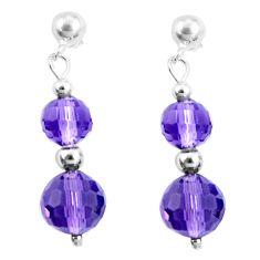 13.13cts natural purple amethyst 925 sterling silver dangle earrings c21003