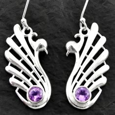 2.09cts natural purple amethyst 925 sterling silver dangle earrings d39982