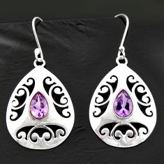 5.53cts natural purple amethyst 925 sterling silver dangle earrings d40023