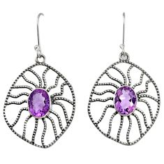 6.26cts natural purple amethyst 925 sterling silver dangle earrings d40102