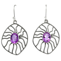 Clearance Sale- 6.04cts natural purple amethyst 925 sterling silver dangle earrings d40103