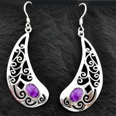3.42cts natural purple amethyst 925 sterling silver dangle earrings d40606