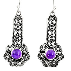2.94cts natural purple amethyst 925 sterling silver dangle earrings d41122