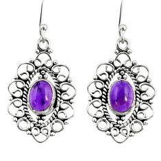 4.38cts natural purple amethyst 925 sterling silver dangle earrings d41127