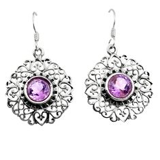 4.82cts natural purple amethyst 925 sterling silver dangle earrings d45725