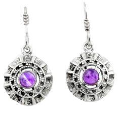 2.73cts natural purple amethyst 925 sterling silver dangle earrings d46803
