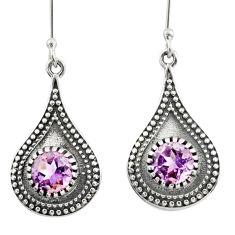 4.40cts natural purple amethyst 925 sterling silver dangle earrings d46854