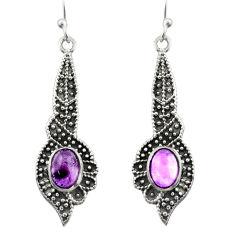 3.26cts natural purple amethyst 925 sterling silver dangle earrings d46961