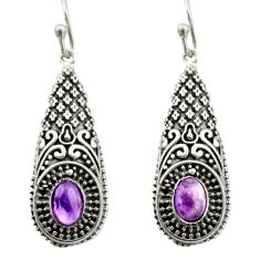 3.53cts natural purple amethyst 925 sterling silver dangle earrings d46965