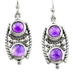 6.18cts natural purple amethyst 925 sterling silver dangle earrings d46982