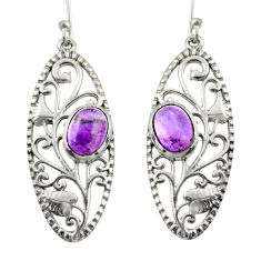 4.21cts natural purple amethyst 925 sterling silver dangle earrings d47084