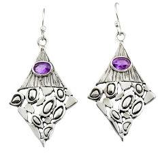 2.76cts natural purple amethyst 925 sterling silver dangle earrings d47162