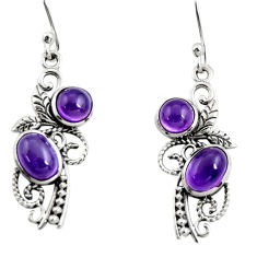 4.42cts natural purple amethyst 925 sterling silver dangle earrings r26082