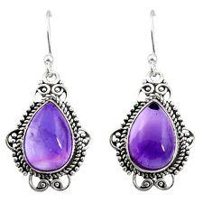 9.20cts natural purple amethyst 925 sterling silver dangle earrings r30956