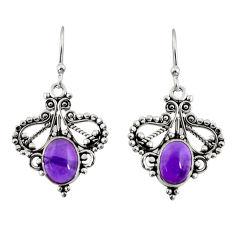 3.98cts natural purple amethyst 925 sterling silver dangle earrings r31158