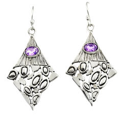 3.16cts natural purple amethyst 925 sterling silver dangle earrings r32962