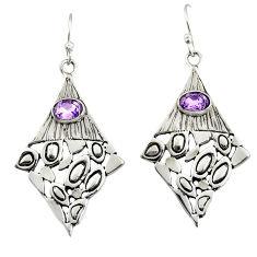 3.16cts natural purple amethyst 925 sterling silver dangle earrings r32966