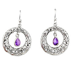2.15cts natural purple amethyst 925 sterling silver dangle earrings r33043