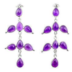15.86cts natural purple amethyst 925 sterling silver dangle earrings r33106