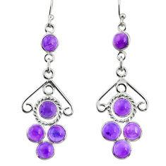 7.25cts natural purple amethyst 925 sterling silver dangle earrings r33425