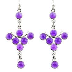 13.66cts natural purple amethyst 925 sterling silver dangle earrings r33566