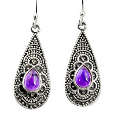 2.98cts natural purple amethyst 925 sterling silver dangle earrings r35126