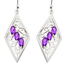 6.03cts natural purple amethyst 925 sterling silver dangle earrings r36662