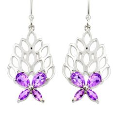 6.63cts natural purple amethyst 925 sterling silver dangle earrings r36702