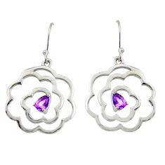 2.36cts natural purple amethyst 925 sterling silver dangle earrings r36726