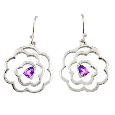 2.36cts natural purple amethyst 925 sterling silver dangle earrings r36727