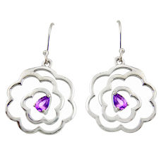 2.36cts natural purple amethyst 925 sterling silver dangle earrings r36729
